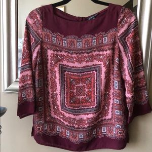 Adrianna Papell burgundy and pink top